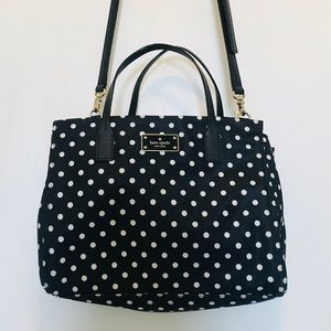 NWOT Kate Spade navy and white polka dot purse